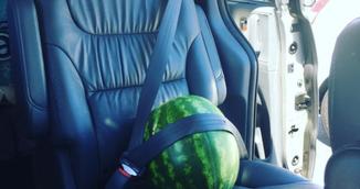 A cumparat un pepene de la magazin si l-a dus la masina! Modul in care l-a transportat pana acasa te va uimi!